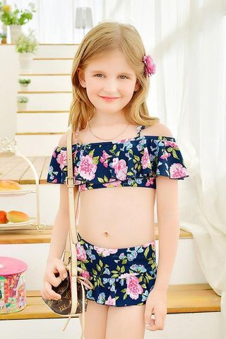 aa6386105 49%OFF Dark Blue Floral Print Girl Two piece Swim Suit ...