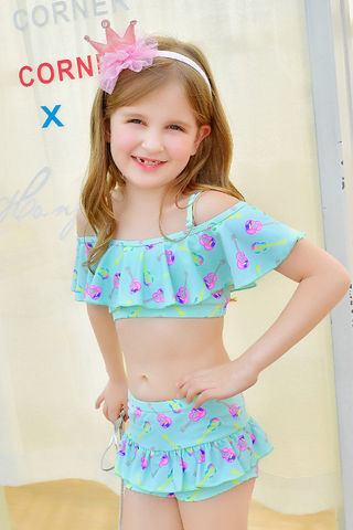 d9b3ea5d363 49%OFF Light Blue Floral Print Girl Two piece Swim Suit ...