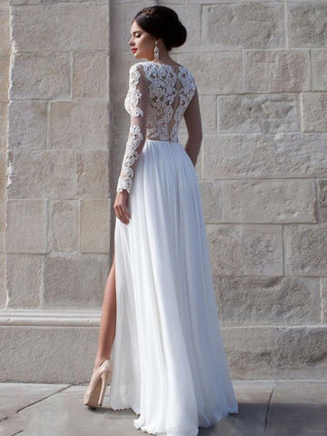 White Lace Sheer Sleeves High-Slit Chiffon Prom Dresses 2017 ...