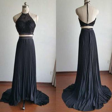 Long Sexy Black A-line Halter Sleeveless Backless Pleats Prom Dresses 2018 Open Back Two Piece