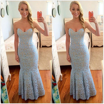 Long Cute Blue Mermaid Sweetheart Sleeveless Pleats Prom Dresses 2018 Lace Sexy For Short Girls