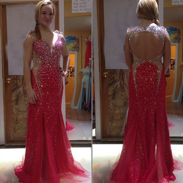 Long Trumpet/Mermaid V-Neck Sleeveless Backless Crystal Detailing Prom Dresses 2018 Open Back Sexy Plus Size