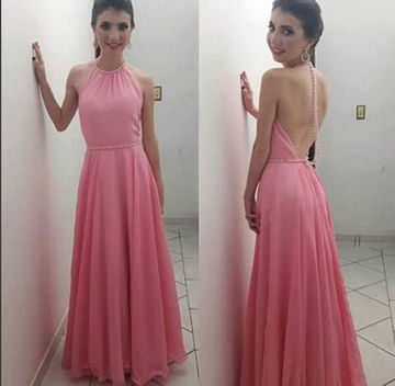 Long Sexy A-line Halter Sleeveless Backless Pearl Detailing Prom Dresses 2018 Open Back Chiffon