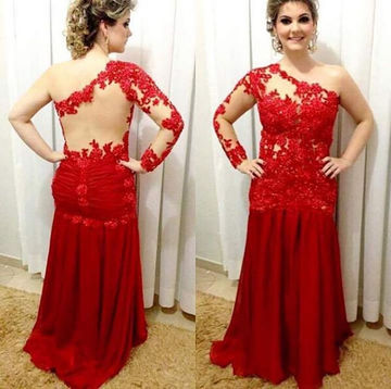 Sexy Red Mermaid One Shoulder Long Sleeves Zipper Prom Dresses 2018 Lace