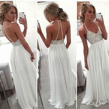 Long Sexy White A-line Spaghetti Straps Sleeveless Backless Beading Prom Dresses 2018 Open Back Chiffon