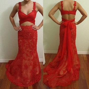 Long Sexy Red Sheath Straps Sleeveless Zipper Bow(s) Prom Dresses 2018 Lace Two Piece