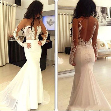 White Trumpet/Mermaid Long Sleeves Natural Zipper Appliques Prom ...