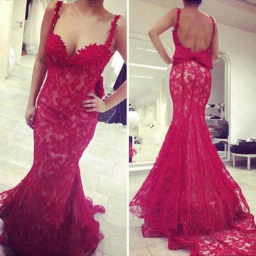 Long Sexy Red Mermaid Spaghetti Straps Sleeveless Backless Bow(s) Prom Dresses 2018 Open Back Lace