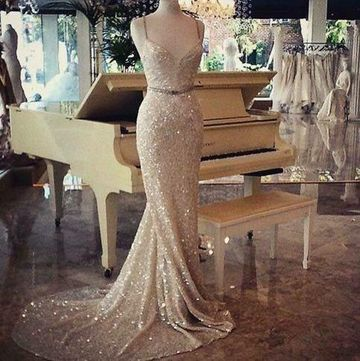 Long Sexy Mermaid Spaghetti Straps Sleeveless Backless Beading Prom Dresses 2018 Open Back