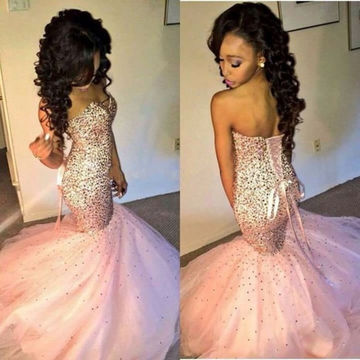 Long Trumpet/Mermaid Notched Sleeveless Lace Up Sequins Prom Dresses 2018 Sheath Sexy