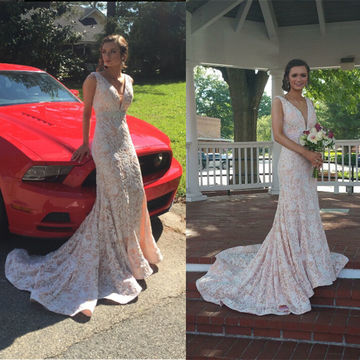 Long Beige/Champagne Mermaid V-Neck Sleeveless Prom Dresses 2018 Lace