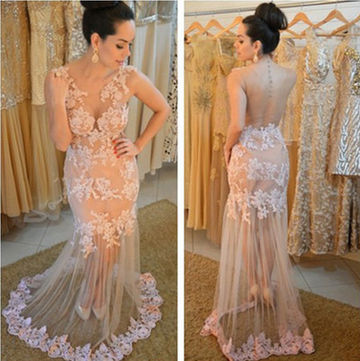 Long Sexy Mermaid Round Neck Sleeveless Backless Prom Dresses 2019 Lace