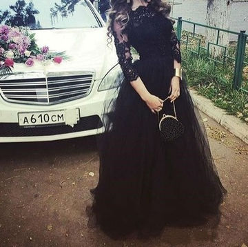 Long Black Ball Gown 3/4 Length Sleeves Appliques Prom Dresses 2018 Lace