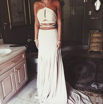 Long Sexy White A-line Halter Sleeveless Backless Bandage Prom Dresses 2018 Open Back