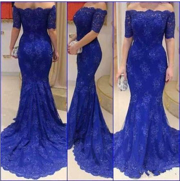 Long Sexy Blue A-line Half Sleeves Zipper Appliques Prom Dresses 2018 Lace