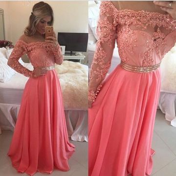 Cute A-line Long Sleeves Zipper Pearl Detailing Prom Dresses 2018 Chiffon