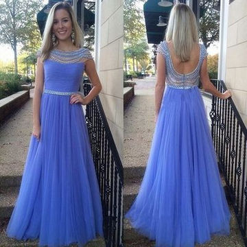 Long Cute A-line Capped Sleeves Zipper Beading Prom Dresses 2018