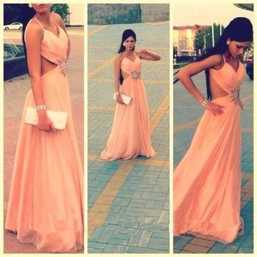 Long Sexy A-line Spaghetti Straps Sleeveless Backless Beading Prom Dresses 2018 Open Back Chiffon