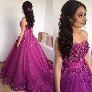 Long Purple A-line Strapless Sleeveless Flowers Prom Dresses Ball Gowns 2018