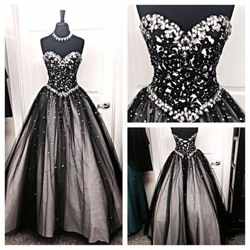 Long Black Ball Gown Sweetheart Sleeveless Corset Beading Prom Dresses 2018