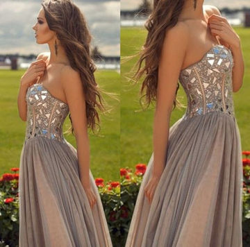 Beading Sweetheart A-line Chiffon Prom Dresses 2017