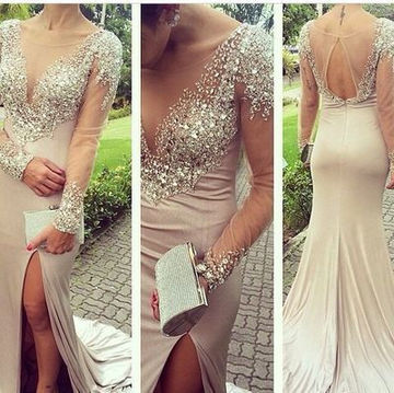 A-line V-Neck Long Sleeves Backless Crystal Detailing Prom Dresses 2018 Sheath Open Back Sexy