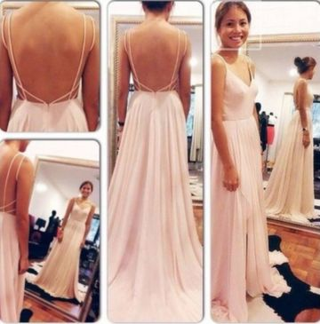 Long Sexy A-line Spaghetti Straps Sleeveless Backless Pleats Prom Dresses 2019 V-Neck Open Back Chiffon
