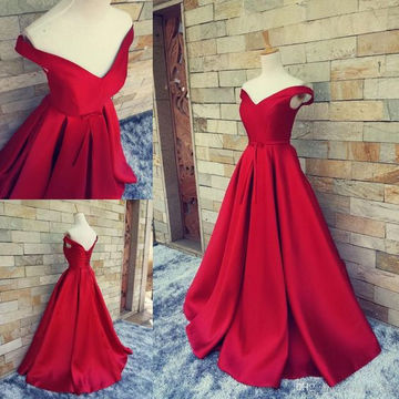 Long Sexy Simple Red A-line Sleeveless Corset Prom Dresses 2018