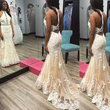 Long Junior Beige/Champagne Mermaid Halter Sleeveless Backless Appliques Prom Dresses 2018 Open Back Sexy