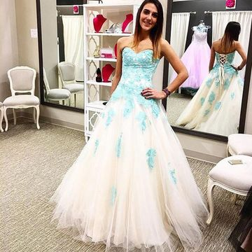 Long Junior Ball Gown Sweetheart Sleeveless Corset Appliques Prom Dresses 2018
