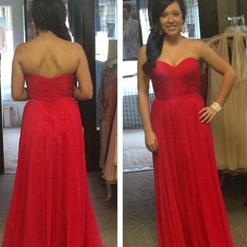Cheap Long Sexy Red A-line Sweetheart Sleeveless Backless Prom Dresses 2018 Open Back Chiffon
