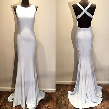 Long Elegant Simple White Mermaid Sleeveless Backless Bandage Prom Dresses 2019 Open Back