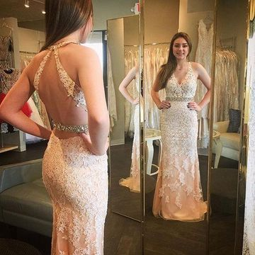 Long Sexy Beige/Champagne Sheath Halter Sleeveless Backless Appliques Prom Dresses 2018 Open Back