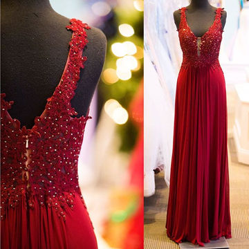 Long Sexy Red Sheath Straps Sleeveless Zipper Appliques Prom Dresses 2018