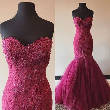 Long Sexy Red Mermaid Sweetheart Sleeveless Appliques Prom Dresses 2018