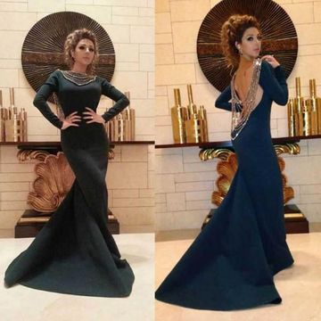 Sexy Black Mermaid Long Sleeves Backless Beading Prom Dresses 2018 Open Back