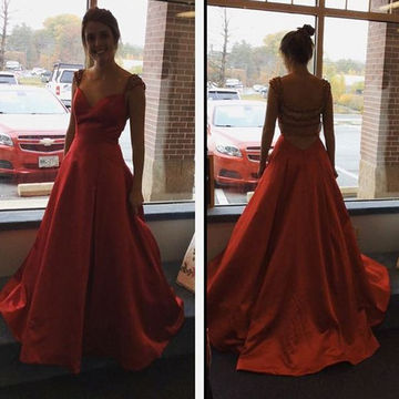 Long Sexy Red A-line Straps Capped Sleeves Zipper Beading Prom Dresses 2019
