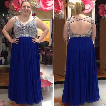 Long Plus Size Sexy Blue A-line Queen Anne Sleeveless Backless Beading Prom Dresses 2018 Open Back Chiffon