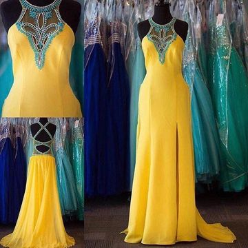 Long Sexy Yellow A-line Halter Sleeveless Backless Beading Prom Dresses 2018 Open Back