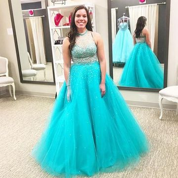 Long Plus Size Junior Blue Ball Gown High Neck Sleeveless Beading Prom Dresses 2018