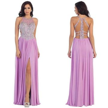 Long Sexy Purple A-line Sleeveless Zipper Beading Prom Dresses 2018 Open Back Chiffon