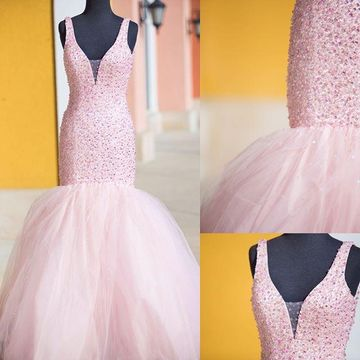 Long Junior Pink Mermaid Straps Sleeveless Beading Prom Dresses 2018 V-Neck Sexy