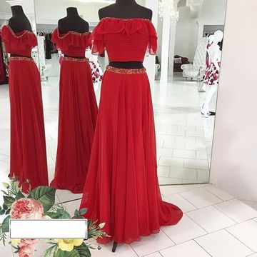 Long Junior Red A-line Beading Prom Dresses 2018 Chiffon Sexy Two Piece