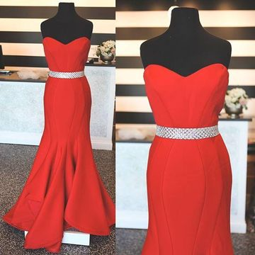 Long Sexy Red Mermaid Sweetheart Sleeveless Beading Prom Dresses 2018