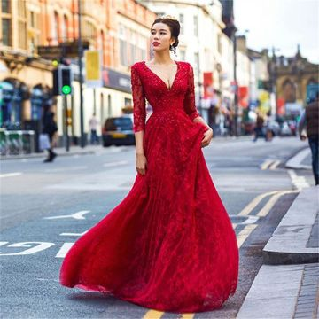 Long Vintage Red A-line V-Neck 3/4 Length Sleeves Backless Prom Dresses 2018 Open Back Lace