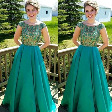 Long A-line Round Neck Capped Sleeves Beading Prom Dresses 2019