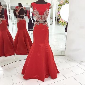 Long Elegant Red Mermaid Capped Sleeves Backless Crystal Detailing Prom Dresses 2018 Open Back