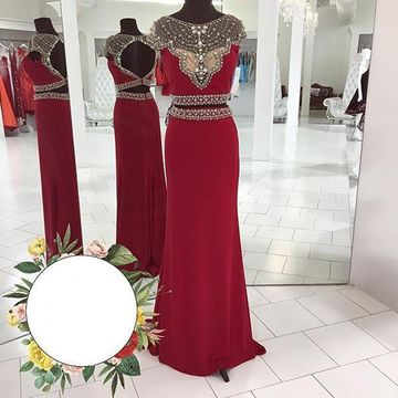 Long Sheath/Column Round Neck Capped Sleeves Backless Crystal Detailing Prom Dresses 2018 Chiffon Two Piece
