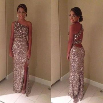 Long Sexy Sheath One Shoulder Sleeveless Backless Sequins Prom Dresses 2018 Open Back