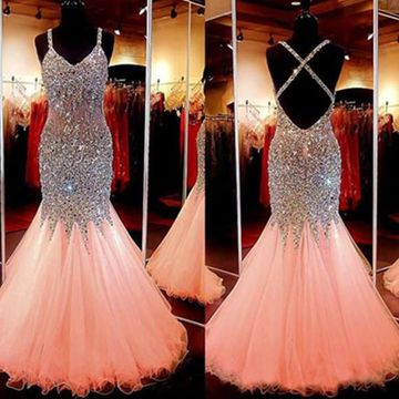 Long Trumpet/Mermaid Spaghetti Straps Sleeveless Backless Sequins Prom Dresses 2019 Open Back Sexy